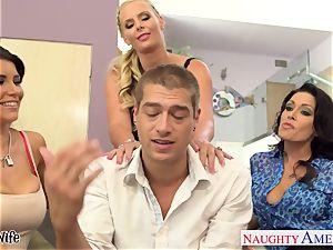 mischievous babes Jessica Jaymes, Romi Rain and Phoenix Marie share dick