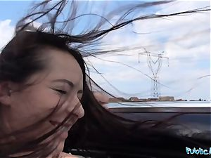 PublicAgent steaming dark-hued haired Russian pounded on a car