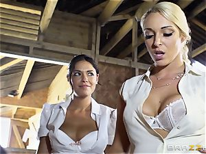 horny lesbos Ava Dalush and Victoria Summer drill the stable man