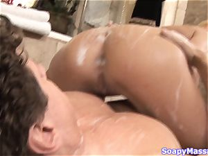 all-natural platinum-blonde Victoria milky smoothers herself in soap