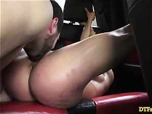 James Deen takes cougar Cherie Deville for a rail on his beef whistle in the car