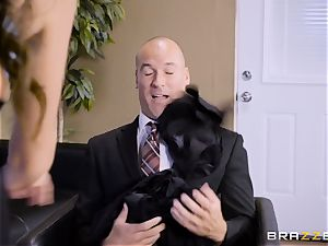 Office big-chested honey Ariella Ferrera takes large meatpipe