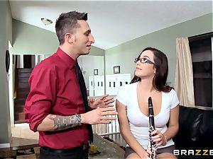 insatiable college girl Karlee Grey pummels her music teacher
