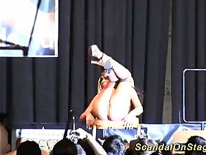 supple huge-boobed stunner on stage