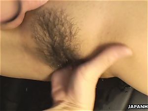 unloading the edible and puny black-haired with his fuck-stick