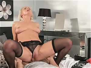 mom ash-blonde mummy in tights and lingerie fellates
