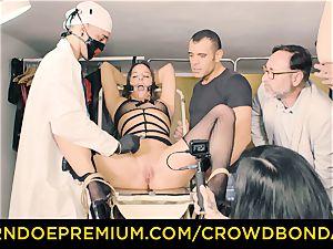 CROWD bondage enslaved Amirah Adara very first time bondage & discipline