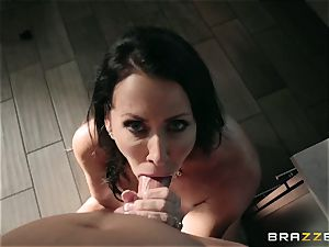 insatiable youth plumbs his luxurious meaty big-boobed stepmother Reagan Foxx in the bathroom apartment
