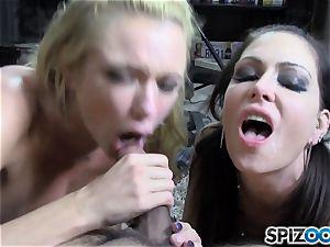 hard-on deep-throating Brianna Banks and Jessica James