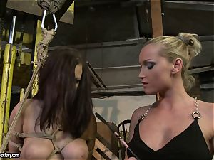 Kathia Nobili smacking the culo of red-hot girl with crop