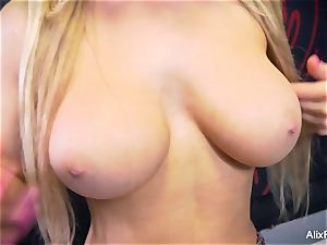 college girl Alix teases her giant breasts and moist cooch