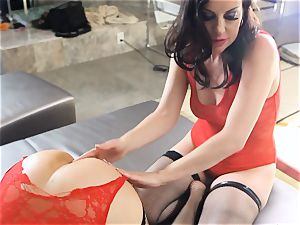 Dana and Soverei in fishnet underwear and heels