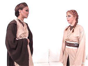 Jedi master flesh uses the darkside to make her jism