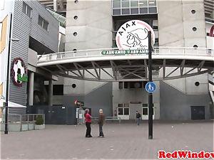 Real dutch escort inhaling ball sack while masturbating