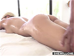 huge-boobed Latina wifey cheats with the gifted ebony masseur