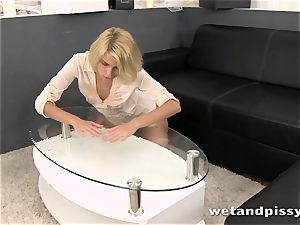 Karina Grand tastes and flips around in her own piss