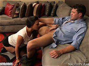 big-chested secretary Rachel Starr tempts her married boss