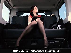 fucked IN TRAFFIC Tina Kay footjob in the backseat