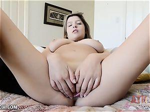 big-titted Sarah Bella showcases off vagina lips