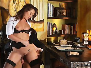 Maddy OReilly is torn up over the desk by the boss