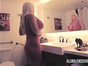 ample breast platinum-blonde Alura Jenson romping a jumpy client
