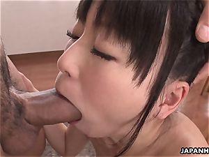 Nozomi spitting all over the fella's rock rock hard lollipop