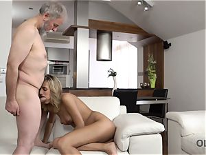 OLD4K. sweetheart takes part in spunky hookup with gorgeous aged father