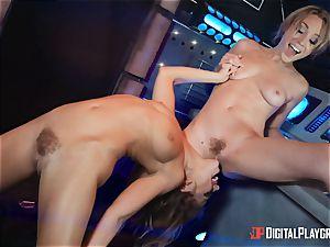 gash lovinТ lesbians Adriana Chechik and Lily Labeau spray on board