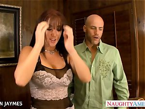 chesty brown-haired Jayden Jaymes gets drilled