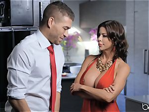 mummy Alexis Fawx gets a face utter of jizz after a hard plow in the kitchen