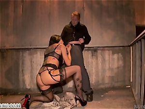 Romi Rain - astounding steaming amateur porno in the street