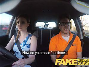 faux Driving school Nerdy red-haired teenage schoolgirl