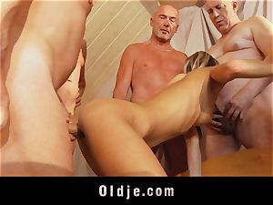 old school gang pound featuring thin youthfull ash-blonde