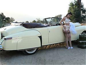 Lana Rhoades vintage car labia play