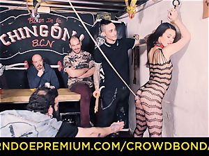 CROWD bondage - Tiffany dame gets slapped in sadism & masochism pummel