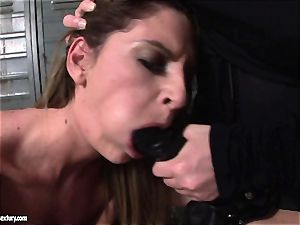 Kathia Nobili lets a torrid nymph deepthroat her cable on