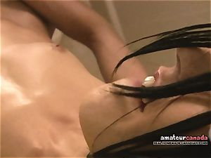bony French female with lil' hooters cums using ben