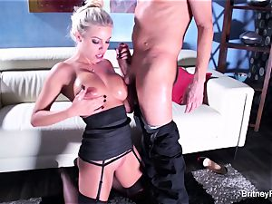 Britney gets a deep stiffy and fountain on her bum