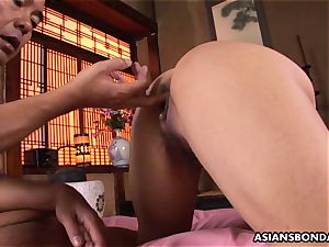 roped asian gags on a hairy manmeat after being fingerblasted